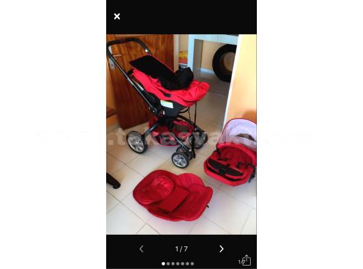 KIrmızı bebek arabası seti